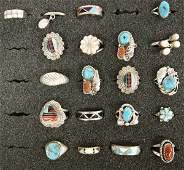 20 Navajo & Zuni Sterling Silver Multi Stone Rings