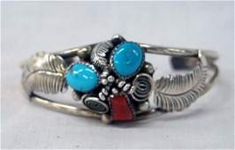 1950 Navajo Silver Turquoise Coral Bracelet,Lucy C