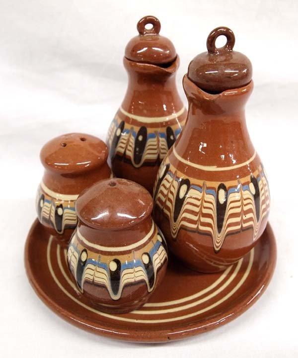 Bulgarian Troyan  Redware Pottery Condiment Set