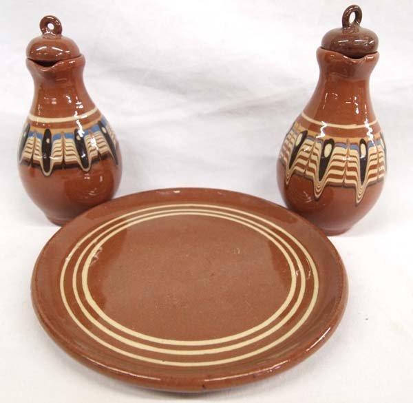 Bulgarian Troyan  Redware Pottery Condiment Set - 2