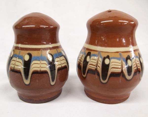 Bulgarian Troyan  Redware Pottery Condiment Set - 5