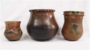 3 Navajo Pottery Jars, one by L. Begay
