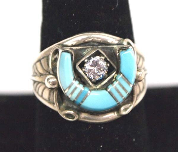 Navajo Sterling Turquoise Inlay CZ Ring, Size 9.25