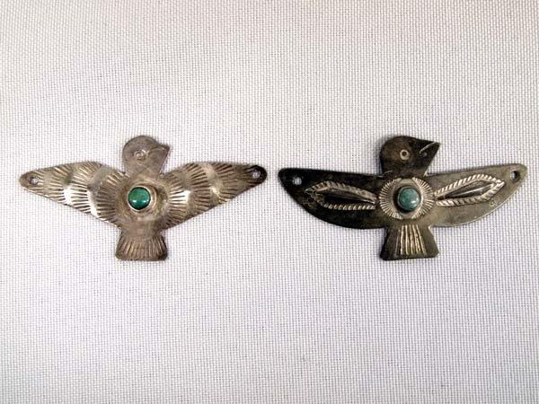 Pr Vintage Navajo Silver Turquoise Pendants