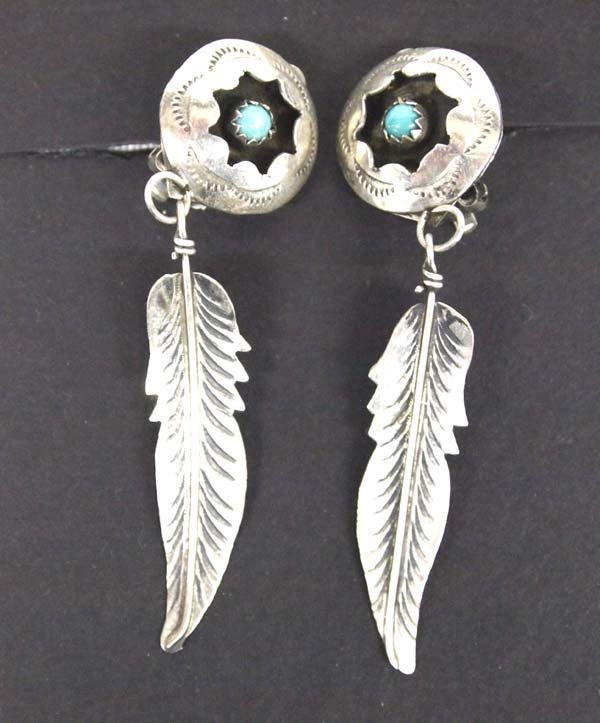 Navajo Silver Turquoise Shadowbox Clip-On Earrings