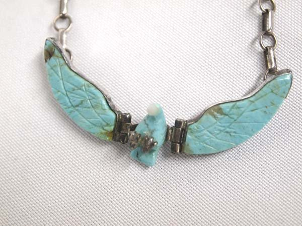 Navajo Silver Turquoise Eagle Necklace by F. Tom