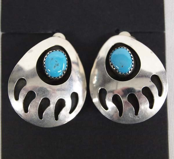 Navajo Silver Turquoise Bear Paw Clip-On Earrings
