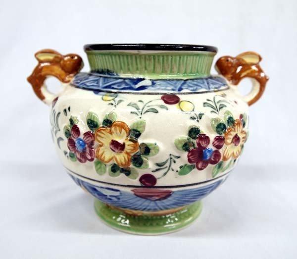 Vintage Japanese Rabbit Handled Porcelain Jar