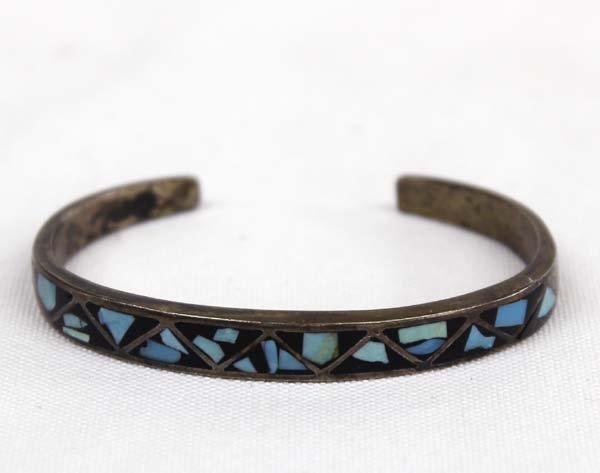 1950 Zuni Silver Turquoise & Jet Inlay Bracelet