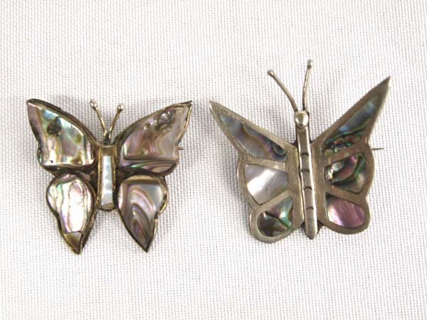 2 Mexican Abalone Butterfly Pins, One is Alpaca