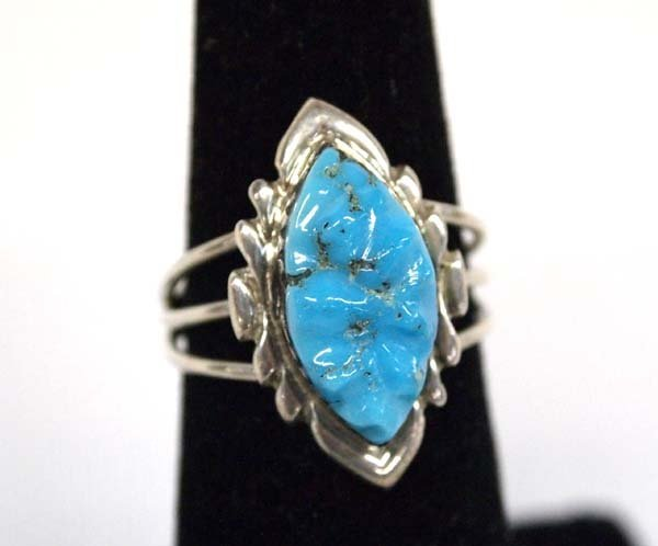 Zuni Silver Carved Turquoise Ring by Quam, Sz 6.5