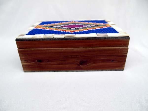 Hand Beaded Cedar Box by Kathy Kills Thunder