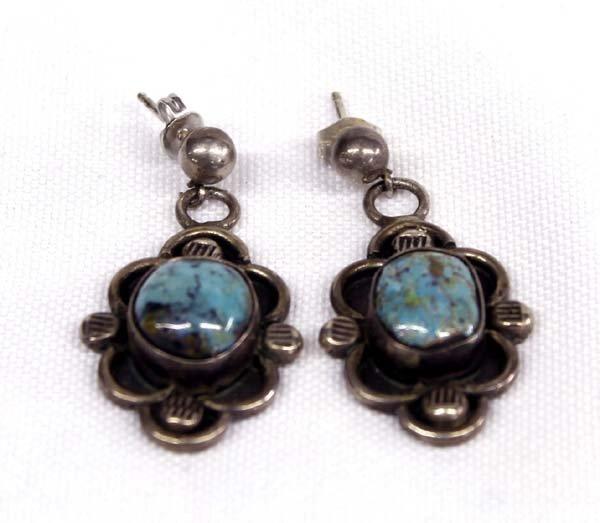1950 Navajo Sterling Silver & Turquoise Earrings