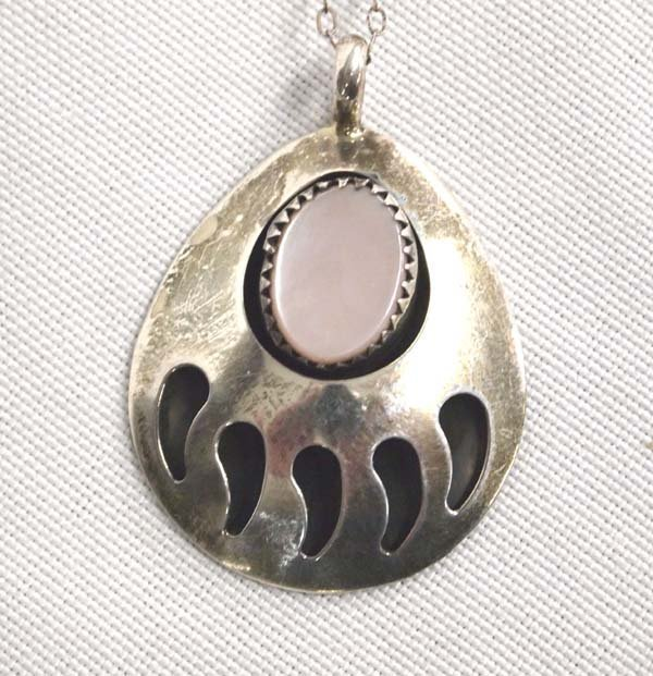Navajo Silver Pink Mother of Pearl Necklace