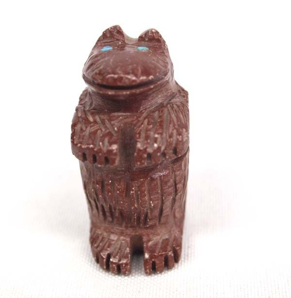 Navajo Carved Bear Fetish with Turquoise Eyes