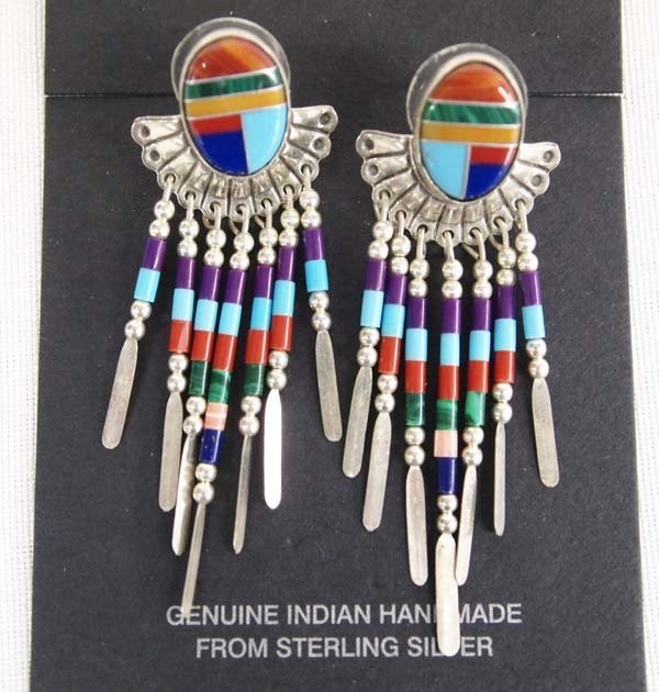 Quoc Turquoise Co. Sterling Silver Inlay Earrings