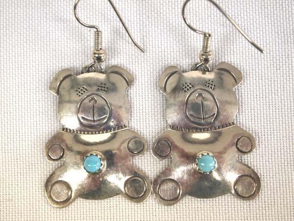 Navajo Silver Turquoise Teddy Bear Earrings, Billy
