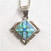 Navajo Sterling Silver Opal Pendant Necklace
