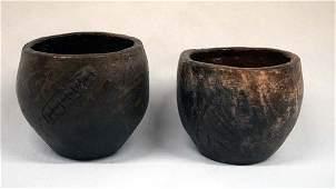 Pr Navajo Ceremonial Drum Pottery Jars