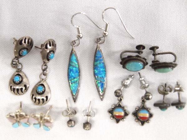 8 Pr Sterling Earrings, Mostly Native American