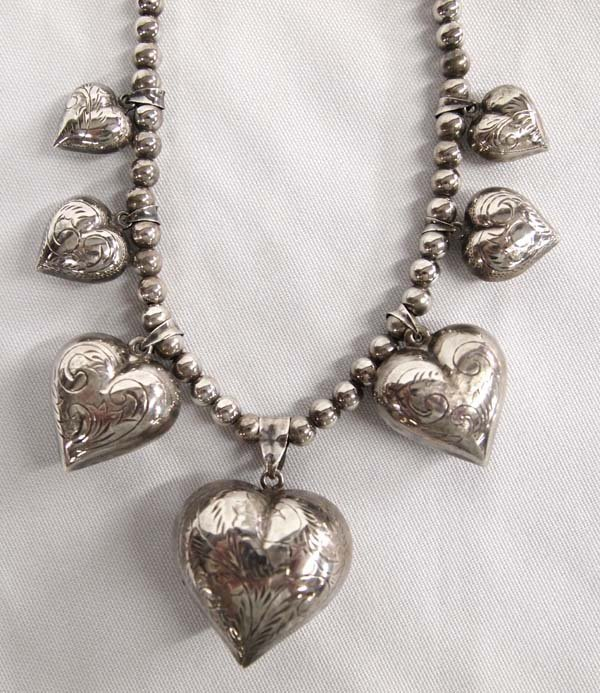 Estate Sterling Silver Heart Necklace