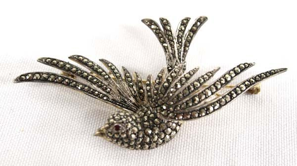 German Marcasite Sterling Silver Bird Pin