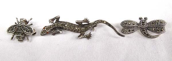 Sterling Silver Marcasite Bee, Dragonfly, & Lizard Pins