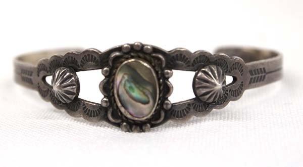 Navajo Fred Harvey Style Silver Abalone Bracelet