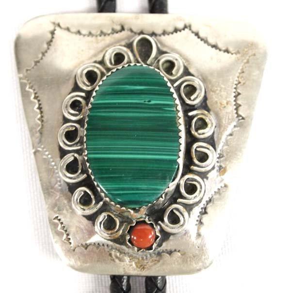 Navajo Sterling Silver Malachite & Coral Bolo Tie