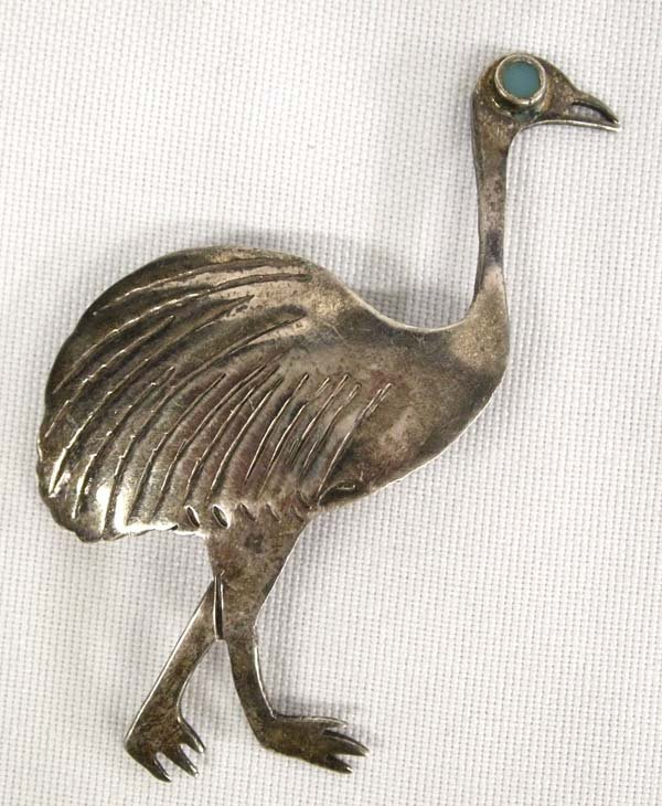 Vintage Sterling Silver Turquoise Emu Bird Pin