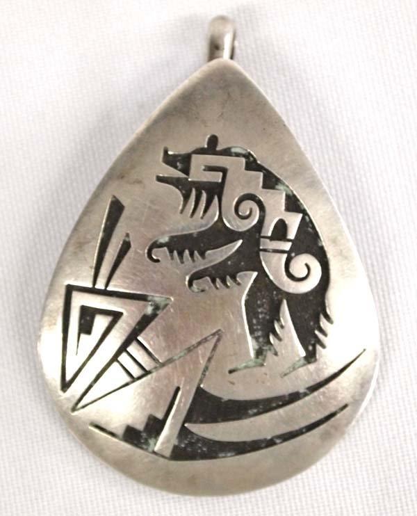 Hopi Old Pawn Bear Pendant by Philbert Poseyesva