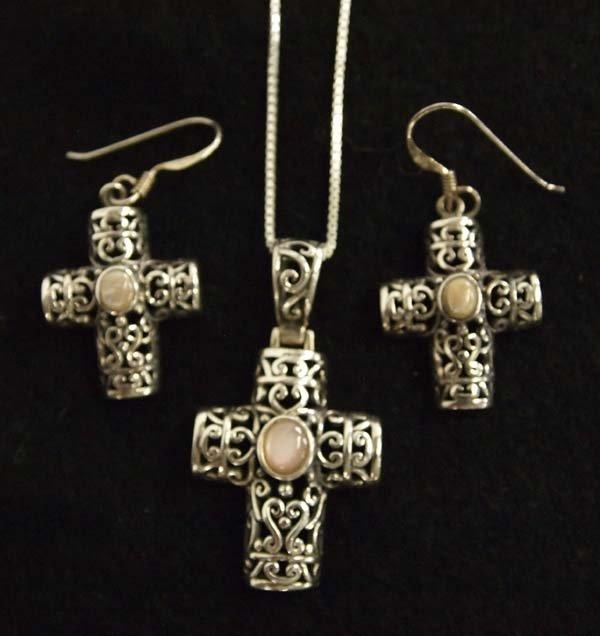 Sterling Silver Cross Pendant Necklace & Earrings