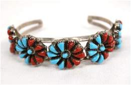 Zuni Sterling Turquoise Coral Cuff Bracelet