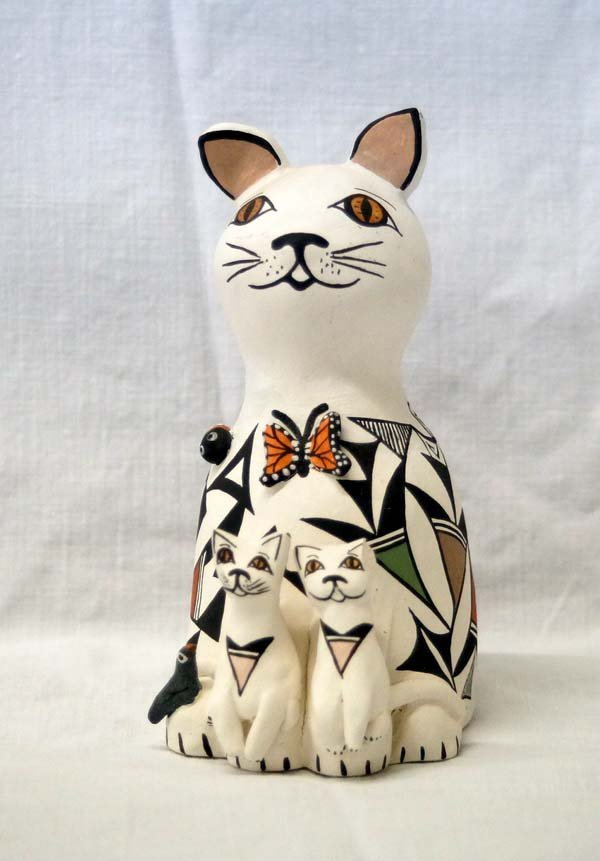 Acoma Polychrome Cat Storyteller by Judy Lewis