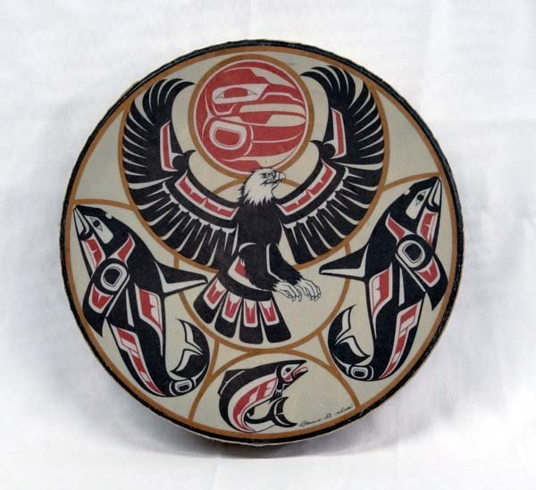 Northwest Coast Indian Drum by Clarence A. Wells - 4