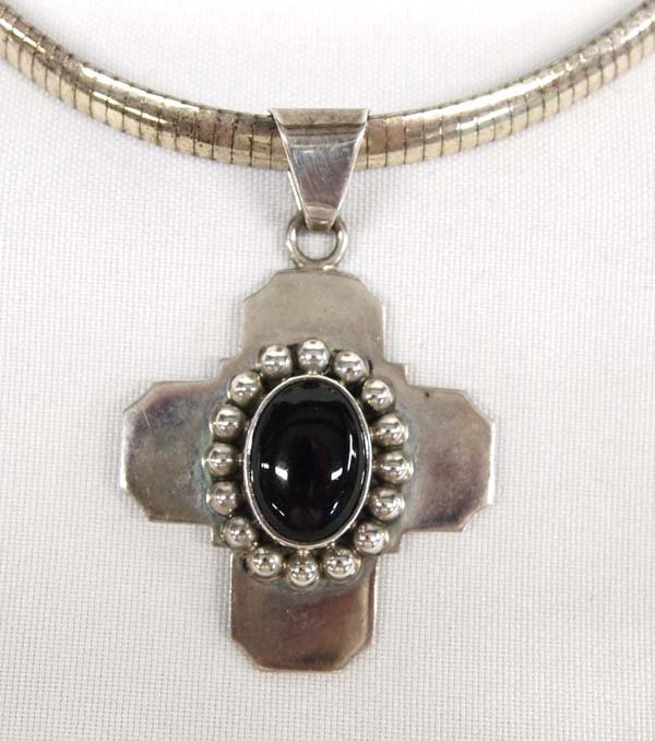 Taxco Sterling Silver Onyx Cross Pendant Necklace