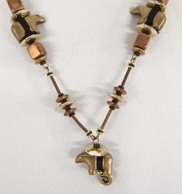 Copper and Brass Bear Fetish Necklace
