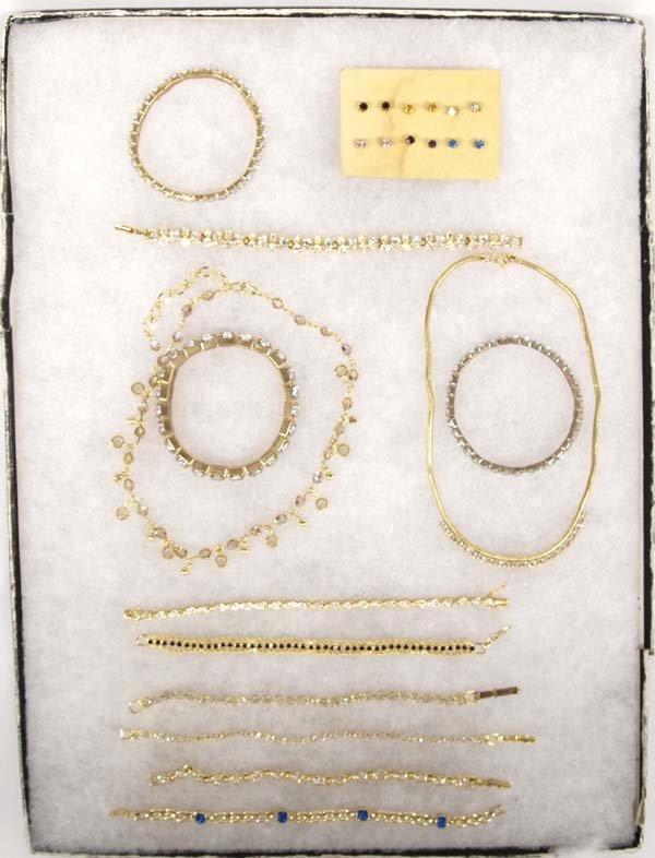 Collection of Estate Goldtone Rhinestone Jewelry