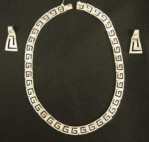 Sterling Greek Key Design Necklace & Earrings