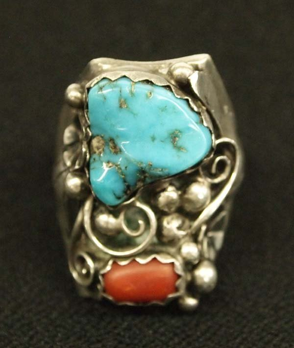 Navajo Silver Turquoise Coral Ring, Randolph, S 11