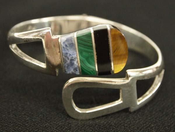 Vintage Taxco Sterling Silver Inlay Bracelet
