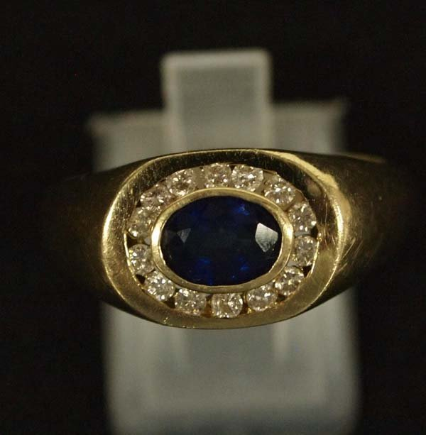 14K Gold, Diamond, and Blue Sapphire Ring, Sz 10.5