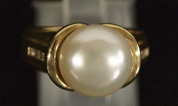 Estate 14K Gold and Pearl Ring, Size 6