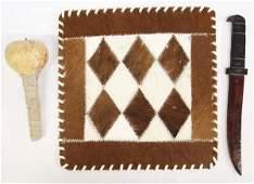 Navajo Ceremonial Wood Knife, Gourd Rattle, & Hide