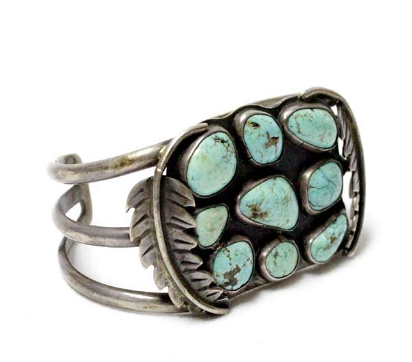 Estate Navajo Old Pawn Sterling Turquoise Bracelet
