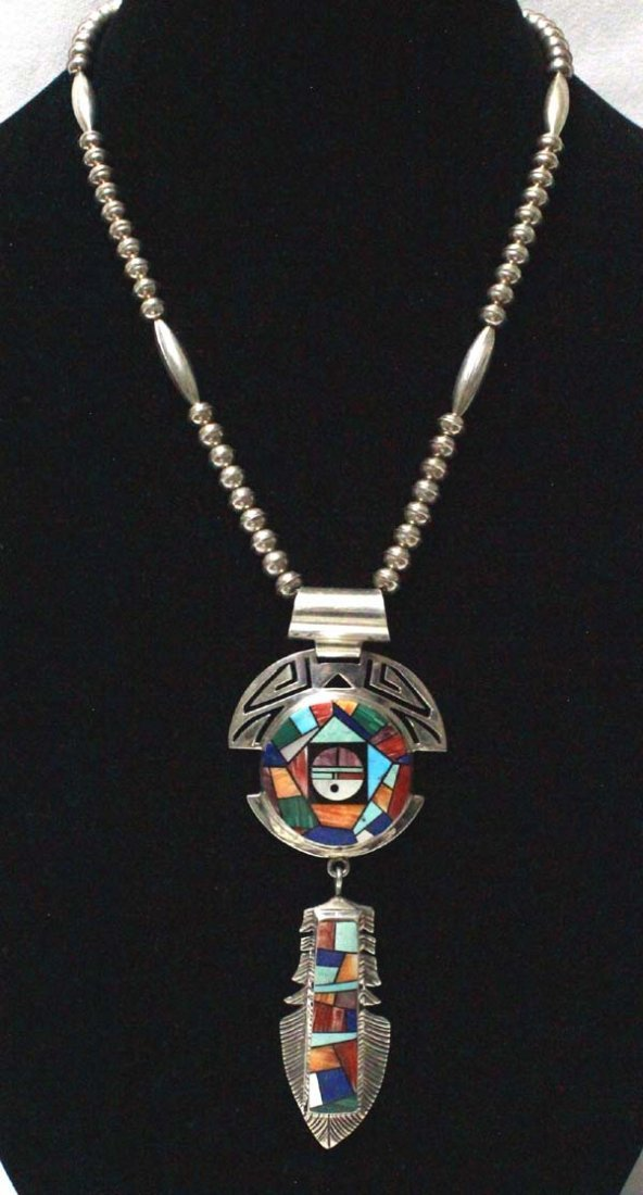 Navajo Silver Inlay Pendant Necklace, Yellowhorse