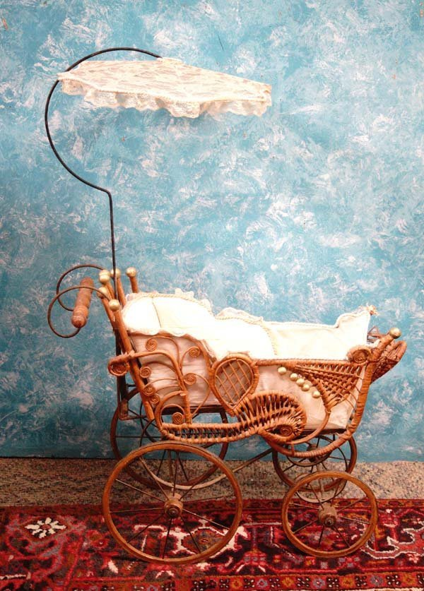 Antique 1800's Baby Doll Buggy with Wooden Wheels