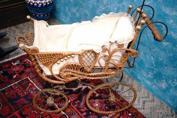 Antique 1800's Baby Doll Buggy with Wooden Wheels - 2