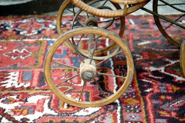 Antique 1800's Baby Doll Buggy with Wooden Wheels - 4