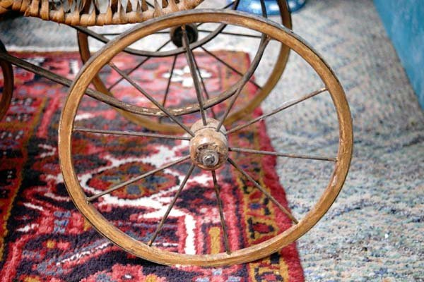 Antique 1800's Baby Doll Buggy with Wooden Wheels - 5
